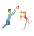 mom dad and their little son playing ball vector image