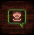 neon chat bot on brick background artificial vector image