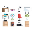 Office equipment set icons vector image