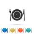 plate with clock fork and knife icon isolated vector image