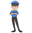 Policeman in uniform standing alone vector image