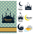 ramadan kareem icon set card with mosque and vector image