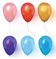 realistic colored balloons on white background vector image vector image