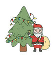 santa with bag bell and tree lights celebration vector image vector image