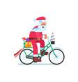 santa with gift bag on christmas bike vector image vector image