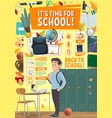 school time poster student at classroom locker vector image vector image
