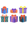 set gifts decorated with bows ribbon vector image vector image