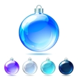 set glossy christmas balls on white background vector image