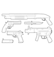 set outlined various weapons vector image