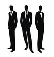 silhouettes three men in retro style of vector image vector image