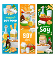 soybean and soy vegan products banners set vector image vector image