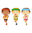 Three runners running in race vector image vector image