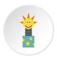 toy jumping out of box icon circle vector image vector image