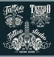 vintage monochrome tattoo salon emblems vector image vector image