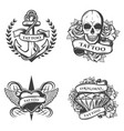 vintage tattoo studio emblems set vector image vector image