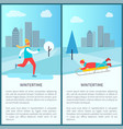 wintertime activities posters vector image vector image