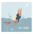 woman in polka-dot swim suit dives vector image vector image