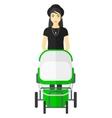 Woman pushing pram vector image