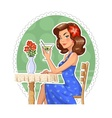 Beautiful girl with glass of vector image