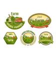 Farm fresh emblems set vector image