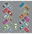 Parked cars on the parking top view urban vector image