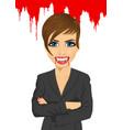 vampire businesswoman standing over flowing blood vector image
