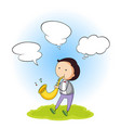 a boy with speech bubble vector image vector image