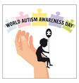 autism a small lonely boy sits on the hand of an vector image
