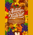 autumn festival poster with fall harvest and leaf vector image vector image