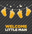 baby feet for boy shower greeting vector image vector image