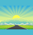 beautiful landscape with a road to mountains vector image vector image