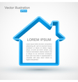 blue house outline vector image vector image