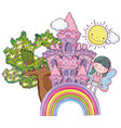 boy fairy creature with castle in the rainbow vector image vector image