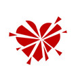 Broken red heart icon minimalism