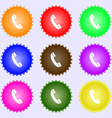Call icon sign A set of nine different colored vector image vector image