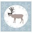 Christmas card reindeer blue vector image vector image