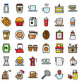 coffee related icon set filled stye editable vector image