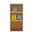 colorful education bookcase with books and folder vector image vector image