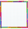 colorful pencils frame on notebook sheet of white vector image