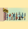 competition of people and robots for jobs vector image vector image