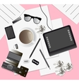 Creative mess on the table top view vector image