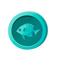cyan coin with image a fish vector image vector image