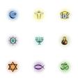 Faith icons set pop-art style vector image vector image