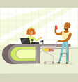 female cashier and buyer with purchases young vector image vector image