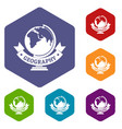geography icons hexahedron vector image vector image