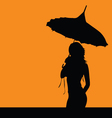 girl silhouette with umbrella vector image vector image