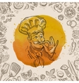 hand-drawn sketch of a happy chef and the food vector image vector image