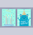 happy birthday set of posters vector image vector image