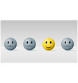 happy face ball among sad face balls background vector image vector image