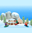 happy kid playing snowboard vector image vector image